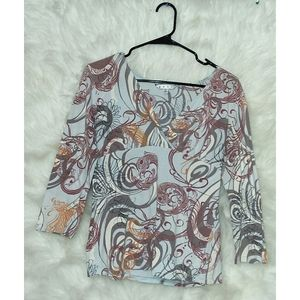 Cabi Abstract V-neck Blouse